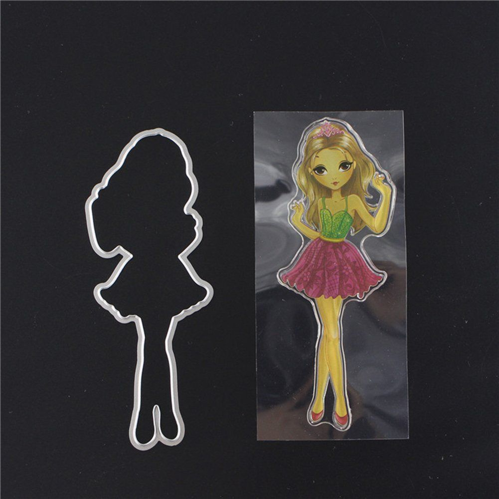 Maserfaliw Cutting Dies Stencils Fashion Girl Carbon Steel Scrapbooking Card DIY Embossing Decor