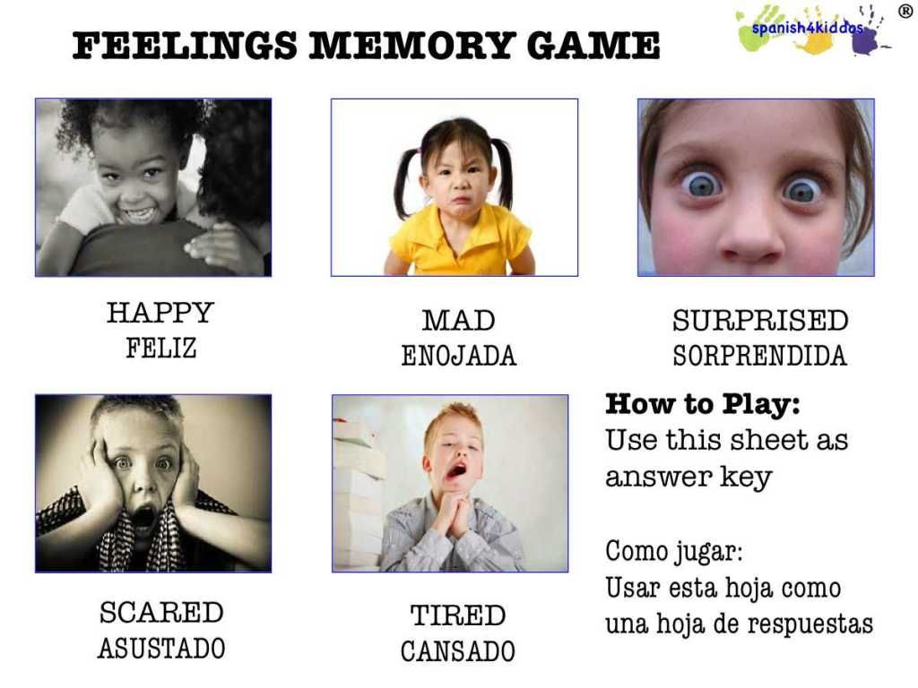 Feelings Memory Game Spanish4kiddos Educational Services