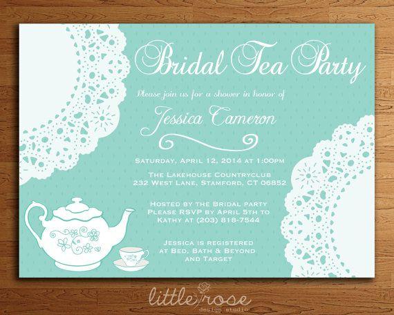 doily bridal tea party bridal shower invitation diy printable digital file only