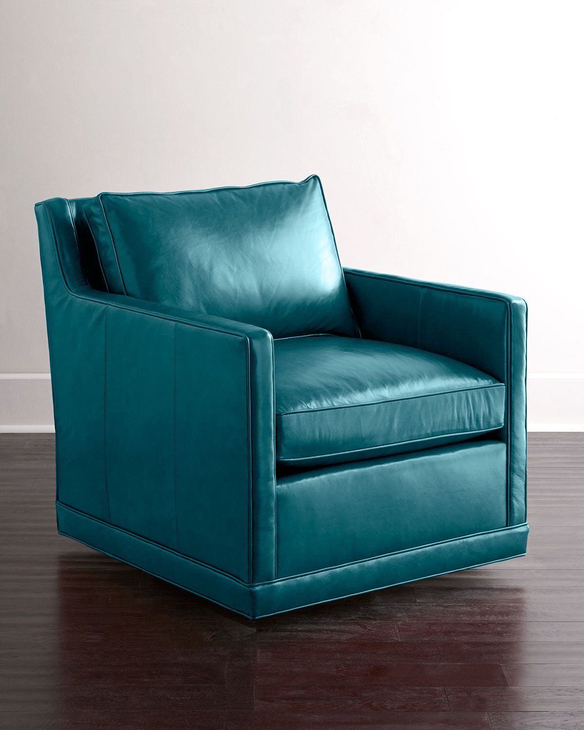 Best Nina St Clair Peacock Blue Leather Swivel Chair Leather 400 x 300