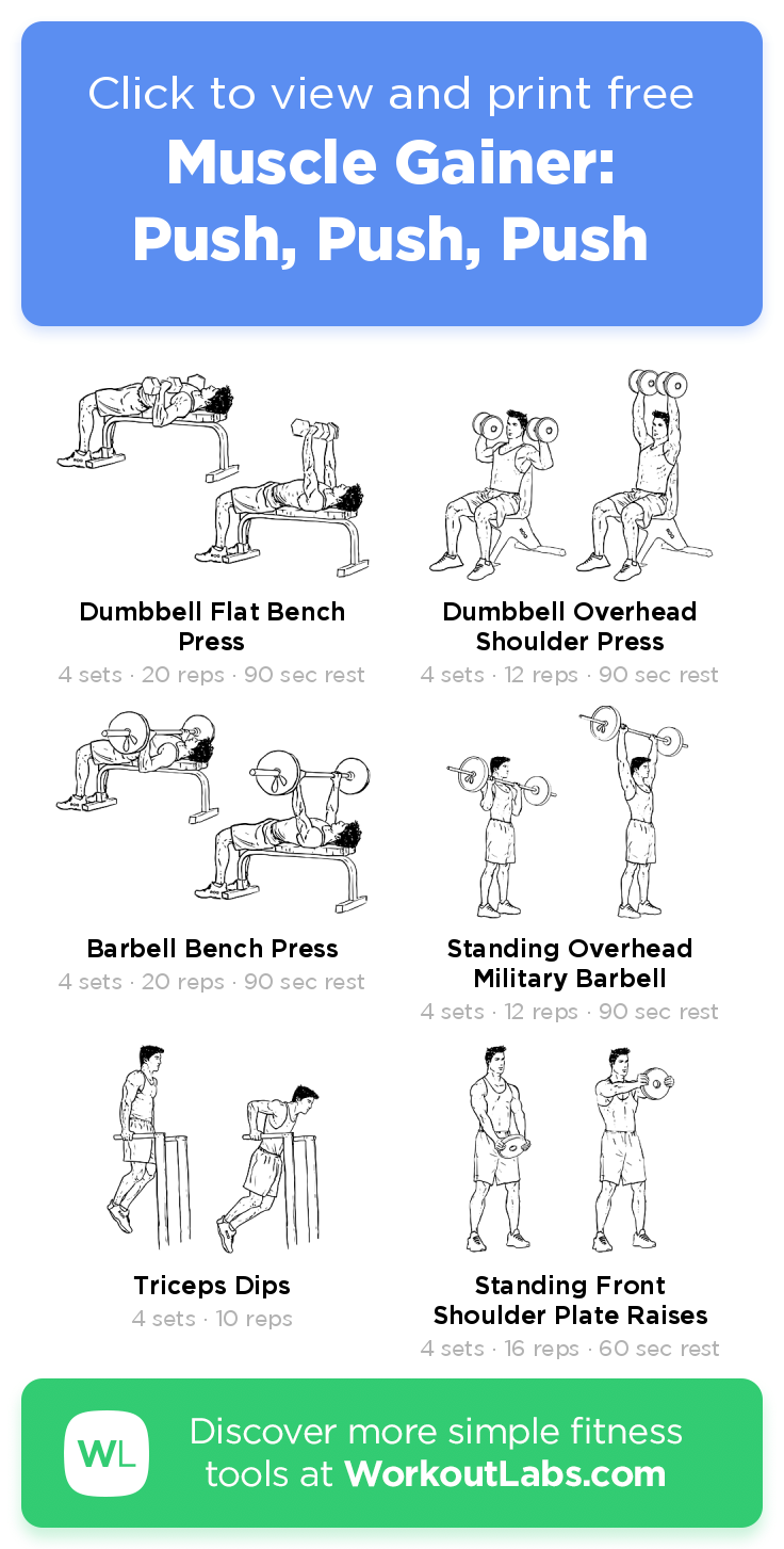 Muscle Gainer Push Push Push Click To View And Print This Illustrated Exercise Plan Created With Barbell Workout Push Pull Legs Workout Push Pull Workout