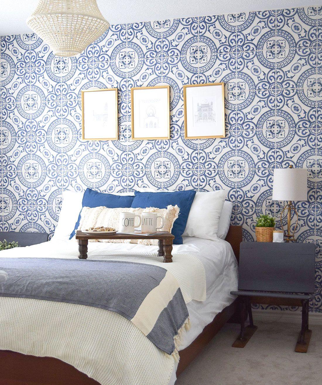 Heritage Tiles Wallpaper Authentic Cement Tile Design Milton King Wallpaper Bedroom Feature Wall Feature Wall Bedroom Master Bedroom Wallpaper