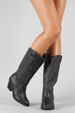 Amazon.com: Western Embroidered Cowboy Knee High Boot BLACK