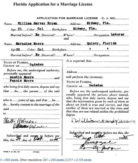 Florida 1935 Marriage Certificate Genealogy Records Marriage Records Genealogy