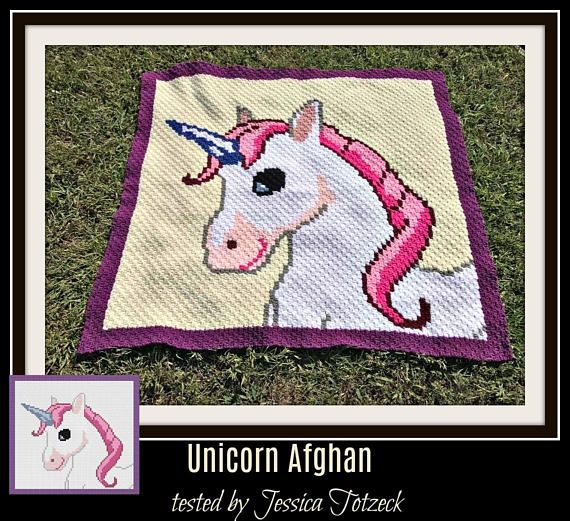 Unicorn Afghan Crochet Pattern C2C Graph Written Word Chart | manta ...