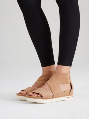 009838317606 Eileen Fisher Sport Wedge Sandal in Tumbled Nubuck