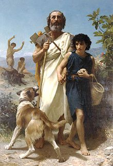 Homer and His Guide, by William-Adolphe Bouguereau (1825–1905), portraying Homer on Mount Ida, beset by dogs and guided by the goatherder Glaucus (as told in Pseudo-Herodotus