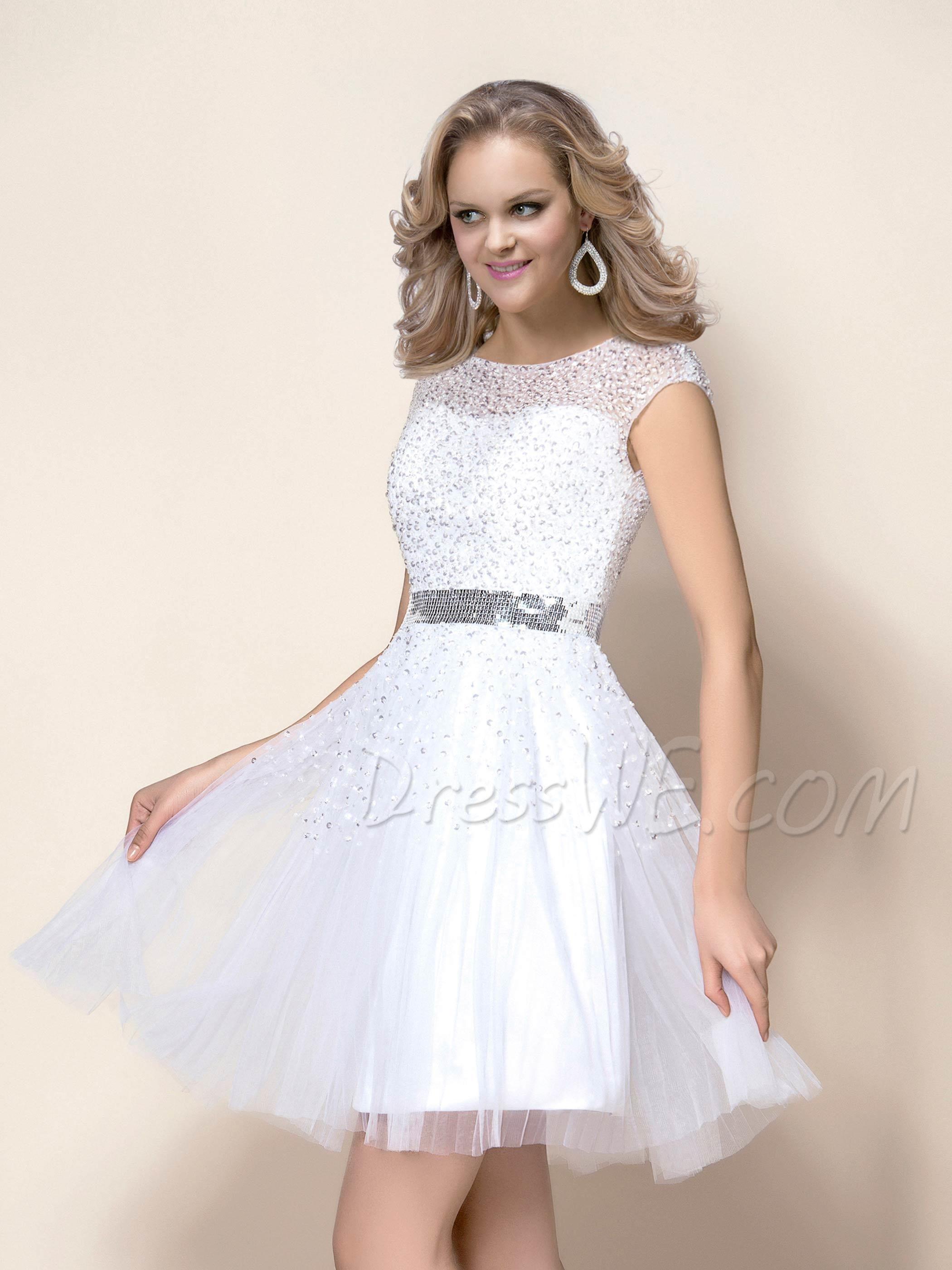 Glamorous ShortMini Beading Bateau Neckline Wedding Dress