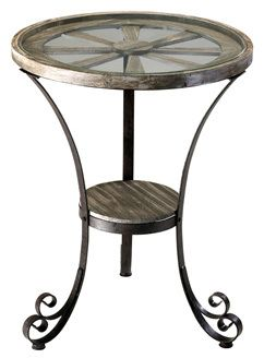 """$339, Carson Designer Table. 30.75""""h -x 24""""d Iron Frame Scrolled Feet in Rustic Finish with Glass Top 