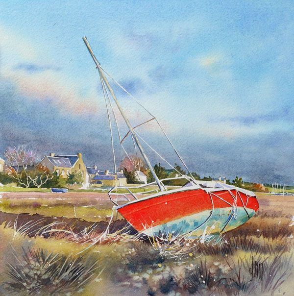 Aquarelle Watercolor Voilier Rouge Normandie Dessin De
