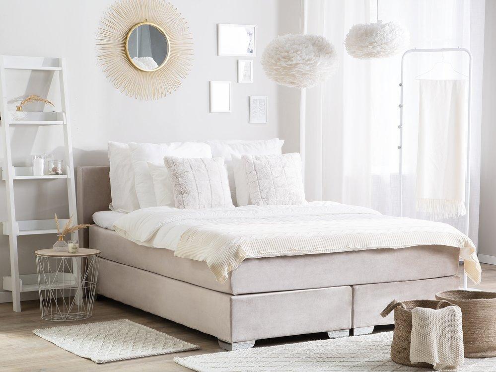 Łóżko kontynentalne welurowe 160 x 200 cm beżowe CONSUL