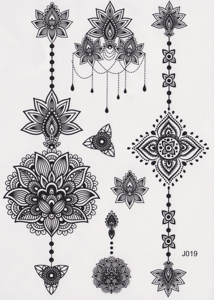 Black and White Assorted Lotus Temporary Tattoo Sheet, Mandala Tattoo, Temporary Tattoo Mandala, Lotus Tattoo, Aztec Tattoo, Tribal, Black and White, Henna Art, Maori Art, Polynesian