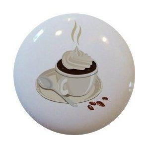 Coffee Latte Ceramic Cabinet Drawer Pull Knob