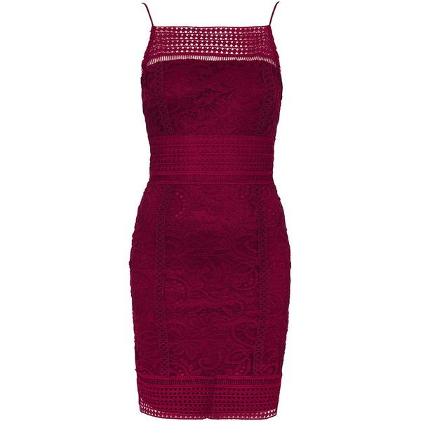 TopShop Floral Lace Bodycon Dress (€70) ❤ liked on Polyvore featuring dresses, berry red, body con dresses, bodycon dress, lace dress, lace mini dress and purple lace dress
