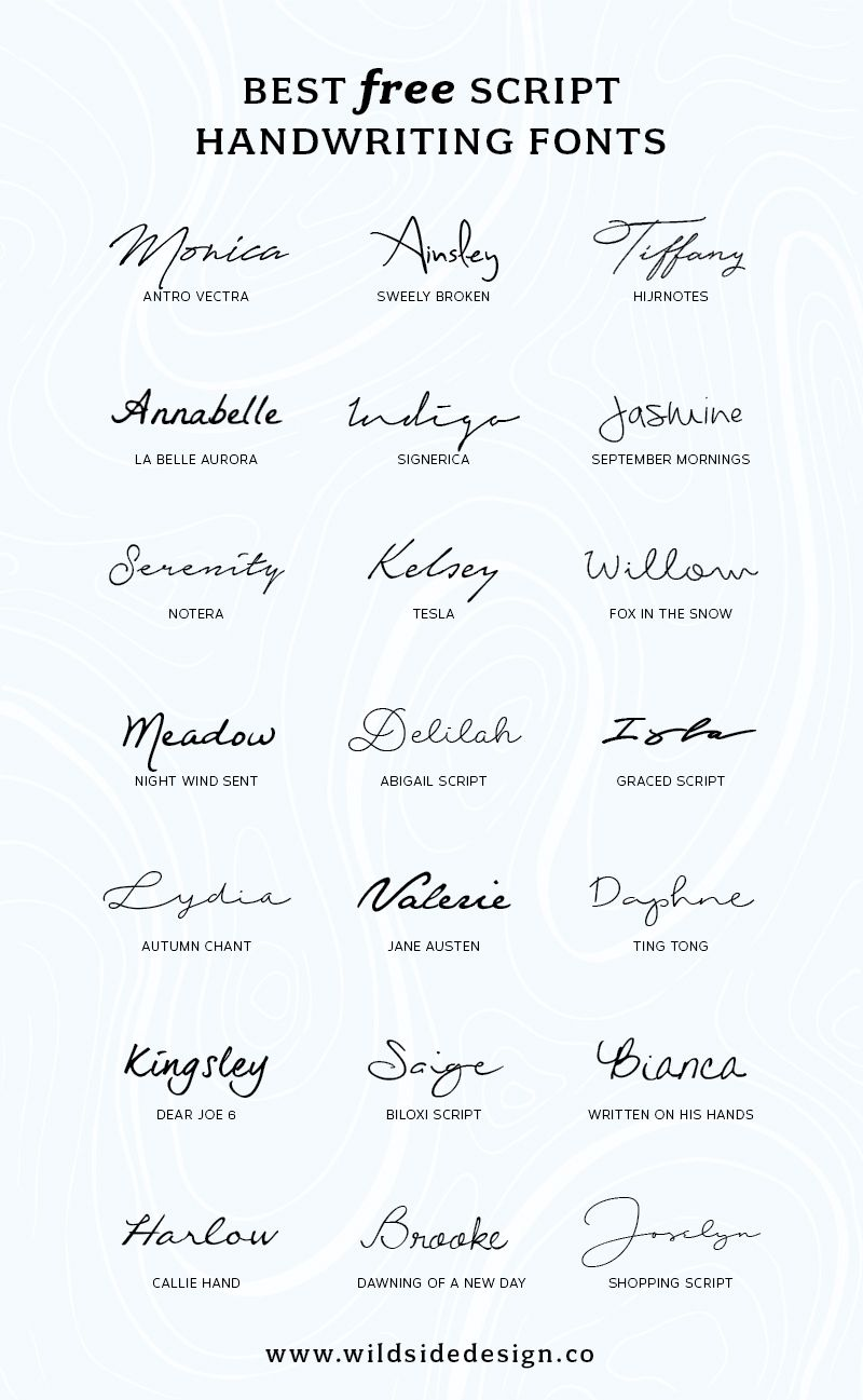 Calligraphy Fonts List Best Free Script Handwriting Fonts Wild Side Designs Blog