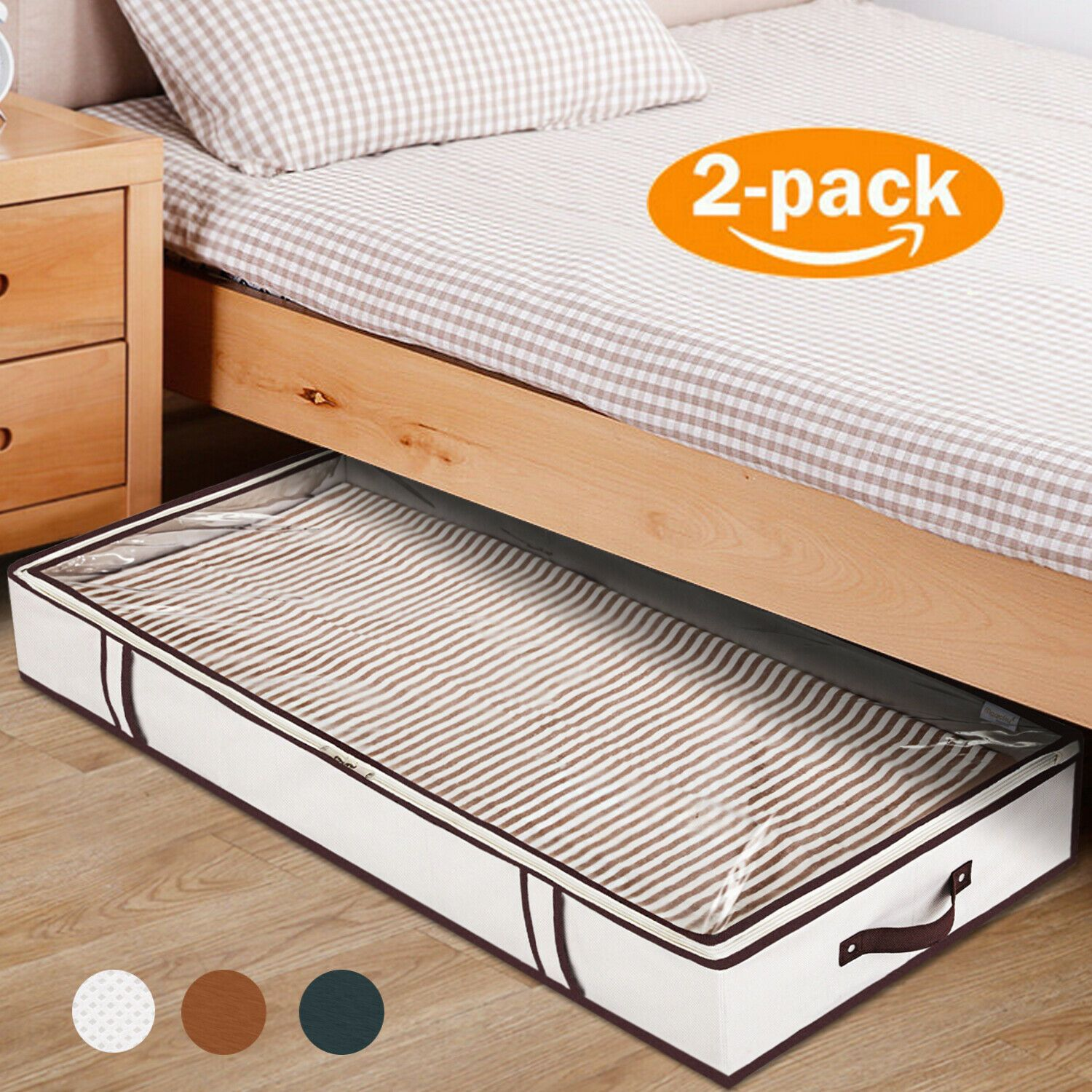 Details about 2 Pack Under Bed Storage Bag Containers Shoe