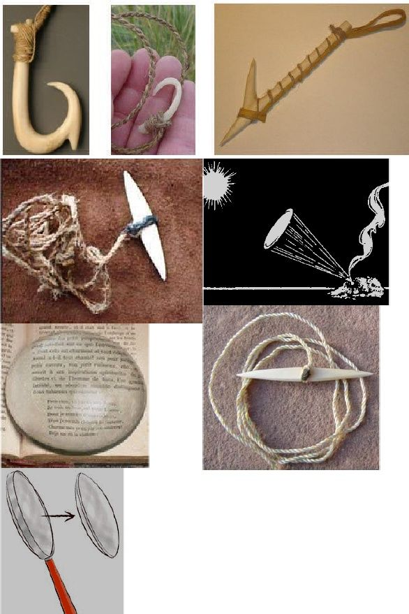 Curved styles of primitive fish hooks can be carved from bone, antler, shell, or wood.