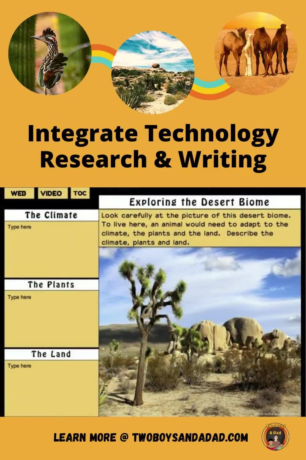 Integrating Technology With Research And Writing Video Video In 2020 Desert Animals Activities Desert Biome Digital Interactive Notebook