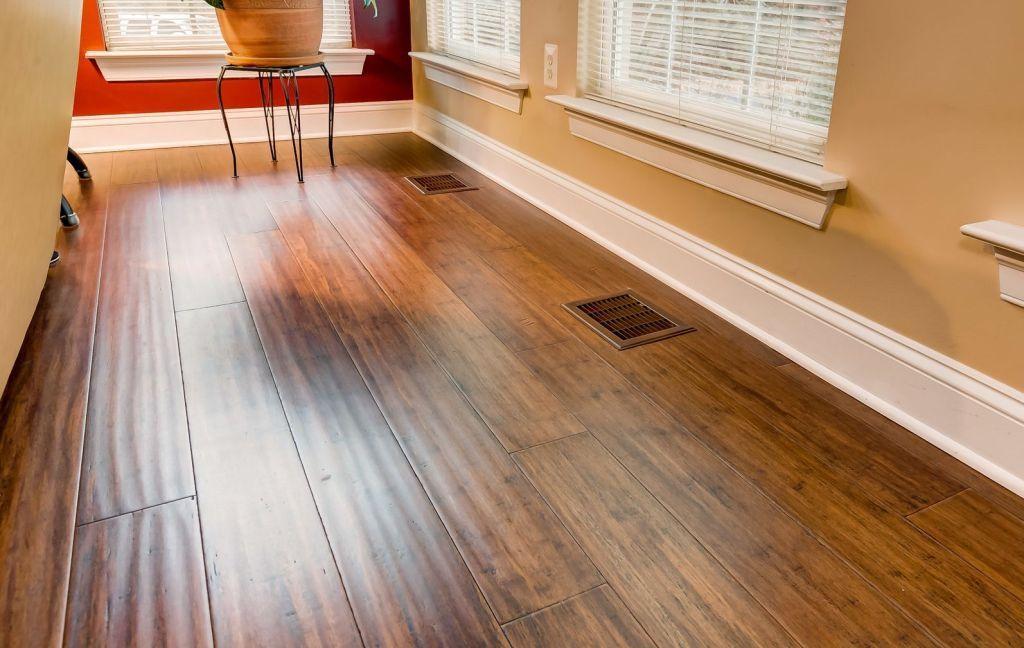Toasted Almond Handscraped Strand Bamboo Floor Hardwood