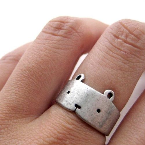 Simple Teddy Bear Ring in Silver - Adjustable Animal Ring | dotoly - Jewelry