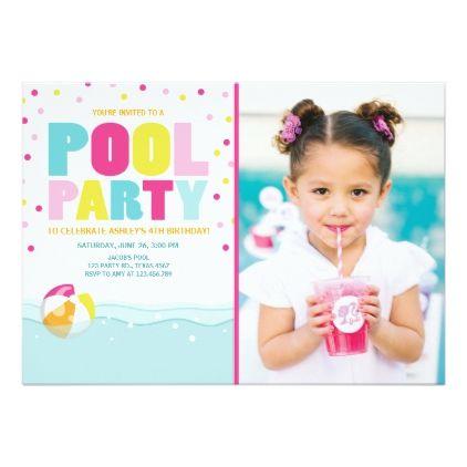 Pool party invitation birthday girl pink yellow pool party invitation birthday girl pink yellow invitations custom unique diy personalize occasions stopboris Images