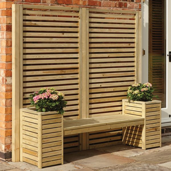 Phenomenal Rowlinson Slatted Planter Bench Set Garden Furniture Ocoug Best Dining Table And Chair Ideas Images Ocougorg