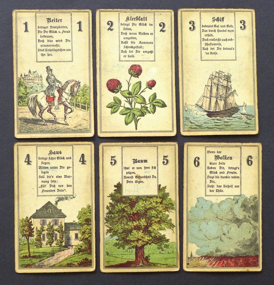Antique 1800s wuest lenormand fortune telling oracle cards