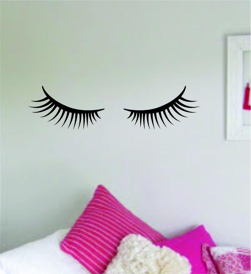 Photo of Eyelashes v9 Wall Decal Home Decor Art Sticker Vinyl Room Bedroom Kids Teen Baby Nursery Girls Eyelashes Brows Make Up Beauty – olympic blue