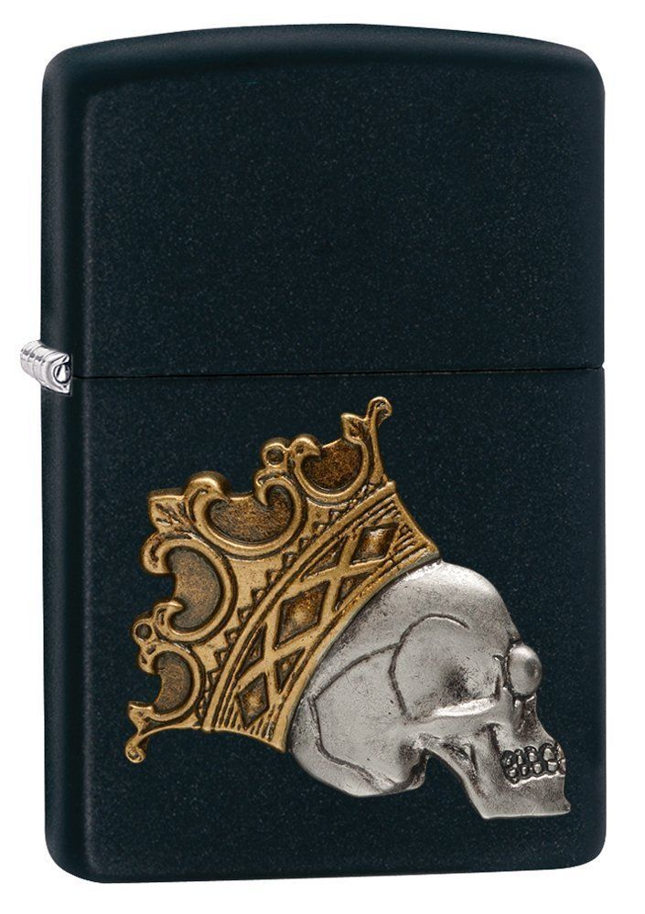 Amazon Com Zippo Skull With Crown Pocket Lighter Black Matte Sports Outdoors Zippo Lighter Skull Zippo Lighter Lighter