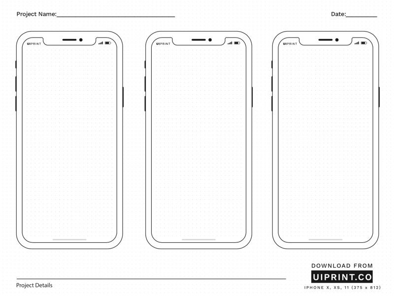Uiprint Printable Mockups And Sketchpads Wireframe Mobile Mockup Mobile Printable