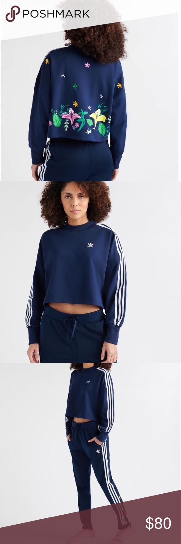 Adidas Originals Blossom Of Life Cropped Top Navy Sweatshirts Fashion Clothes Design [ 1740 x 580 Pixel ]