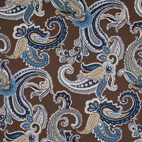 Navy Blue Paisley Cotton Upholstery Fabric Brown Pleated Curtains Modern Pillow Covers Chocolate