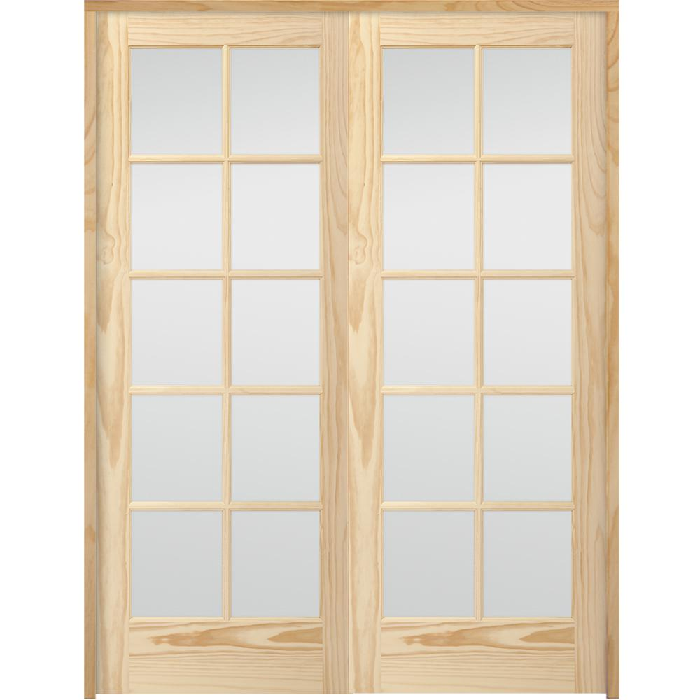 Steves Sons 60 In X 80 In 10 Lite French Unfinished Pine Solid Core Wood Double Prehung Interior Door With Nickel Hinges X64n2nnnlllhn The Home Depot Prehung Interior French Doors Prehung