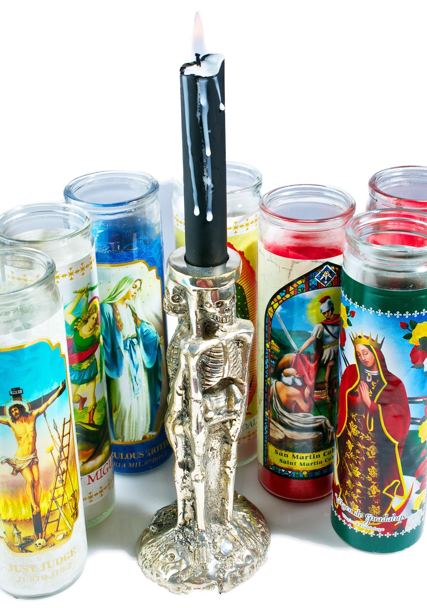 Merciful death candle holder turn your earthly soul to ashes and