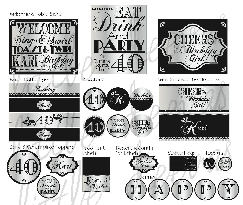 40th birthday pdf printable party pack via etsy for 40th birthday decoration packs