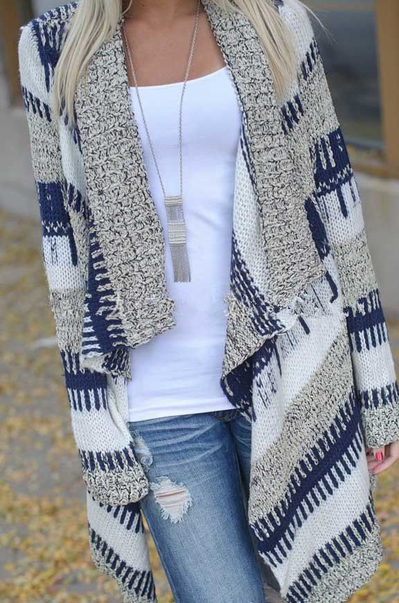 Women Print Open Knit Cardigan long sleeve grey fall oversized ...