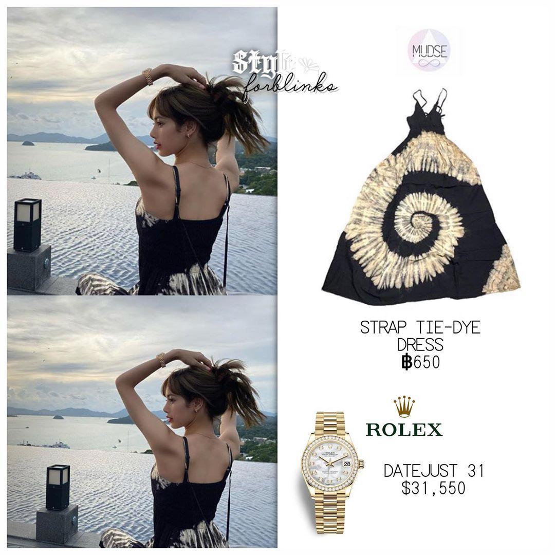 Blackpinkstyle Small Break On Instagram Lalalalisa M Wearing Mudse Tiedye Rolex Thailand Dress Thailand Dress Blackpink Fashion Kpop Fashion