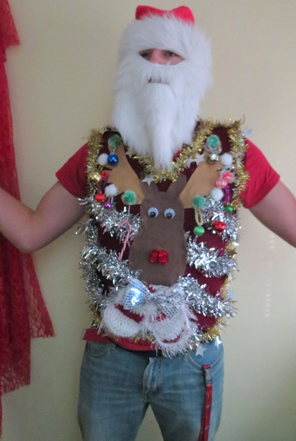 Homemade Custom 3-D Hysterical Reindeer Tacky Ugly Christmas Sweater VEST Wild Garland Light UP Mens Womens Vest Sn9Qw4cQ