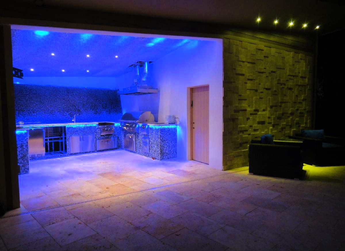 Awesome Blue Led Light Kitchen Design Combined With Green Light Living Room  Ideas
