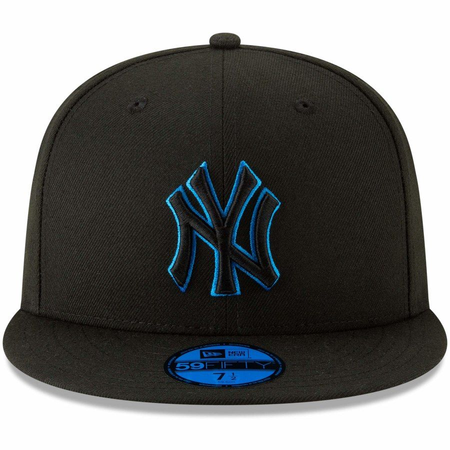 Men S New York Yankees New Era Black Blue Outline Neon Pop 59fifty Fitted Hat New York Yankees Yankees News Fitted Hats