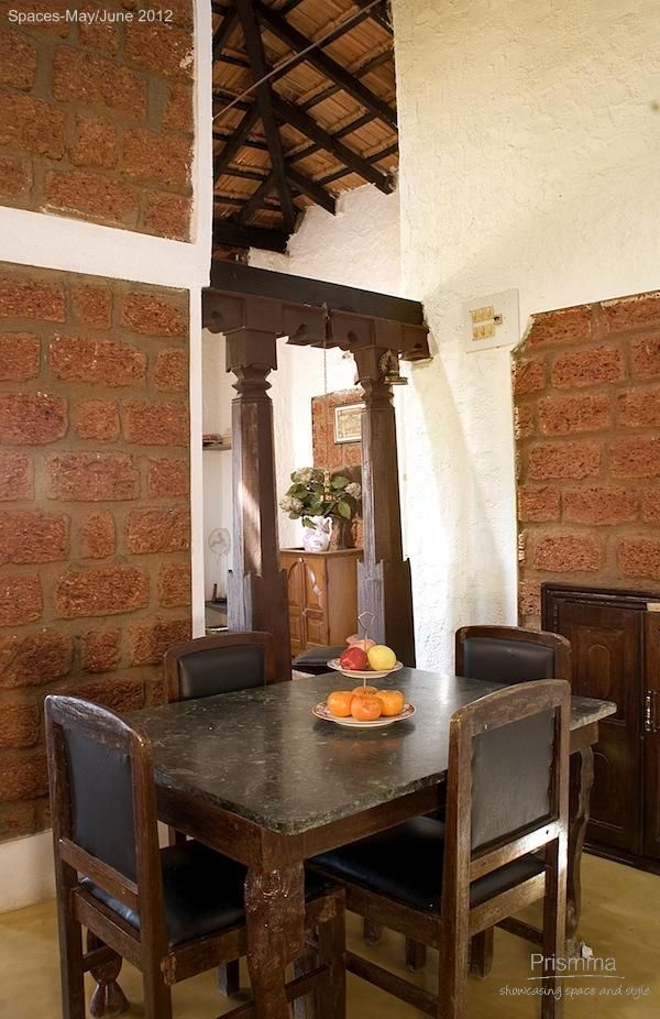 Sustainable Design Using Laterite Indian Home Eco Friendly Dining Room
