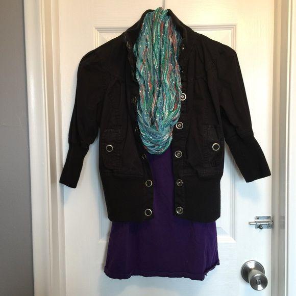 SALEBlack Jacket Black jacket with 3/4 length sleeves. Barely worn Miley Max Jackets & Coats