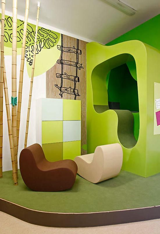Green kids room with bright color theme kid stuff for Interior designs for kids