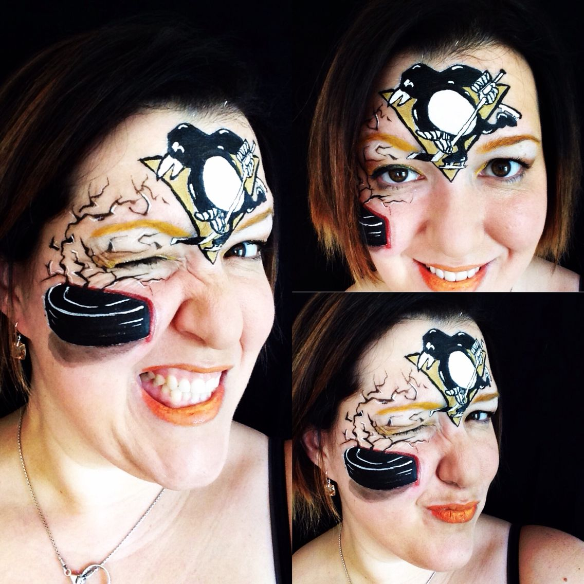 Pittsburgh Penguins Hockey NHL sports face paint by