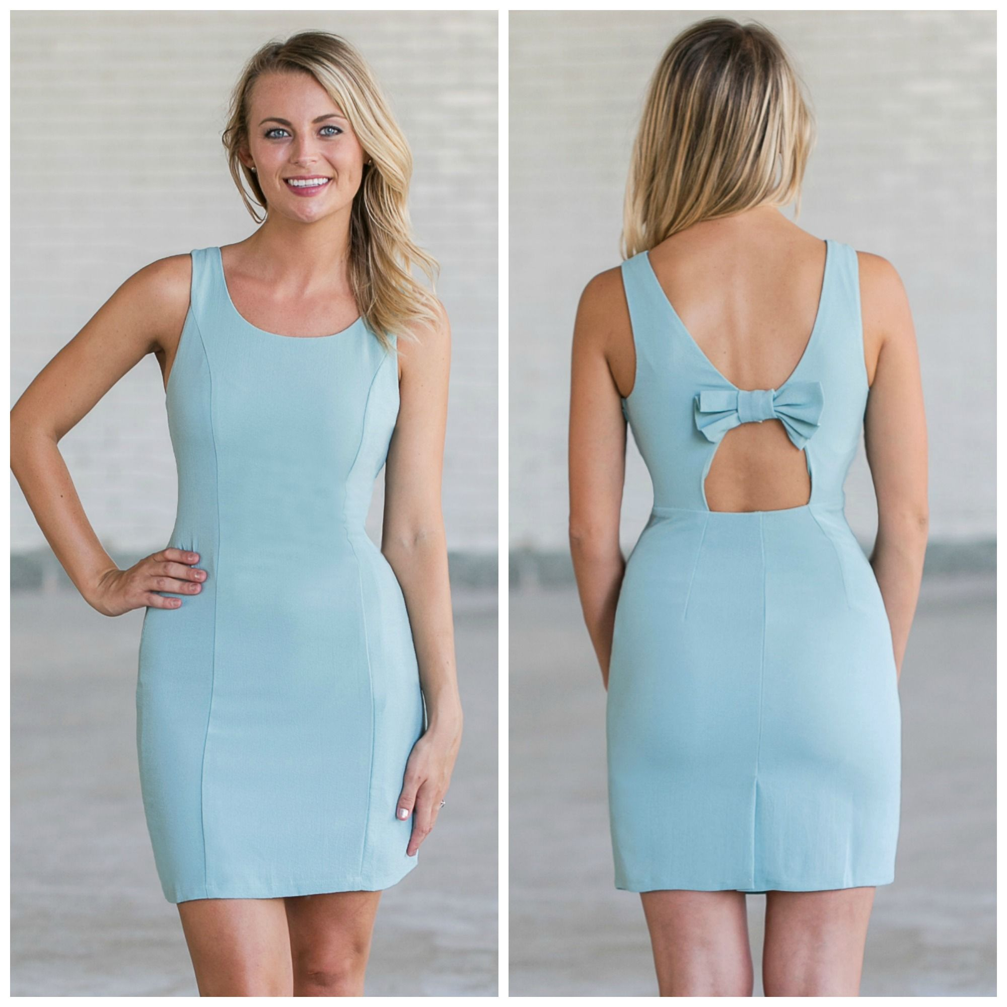 This simple sage green dress has a fabric bow in the back! http ...