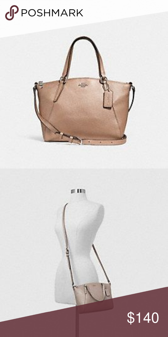 97c8e664765 Coach Mini Kelsey Satchel Bag Very gorgeous Silver Platinum color Coach bag.  Its almost like a rose gold color • Metallic pebble leather • Zip-top  closure, ...