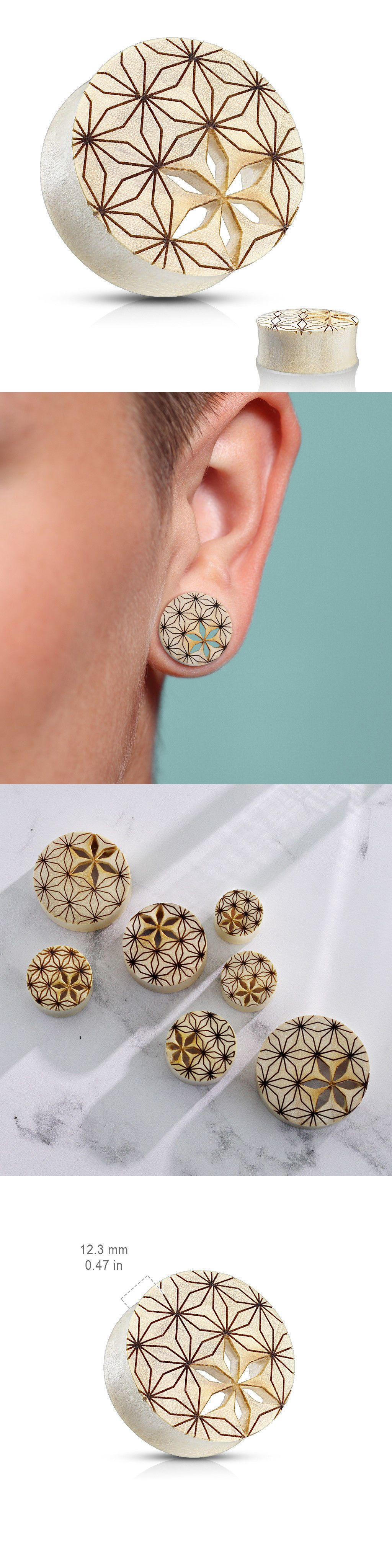 Pimple under nose piercing  PAIR Flower of Life Cut Out Blonde Crocodile Wood Saddle Plugs