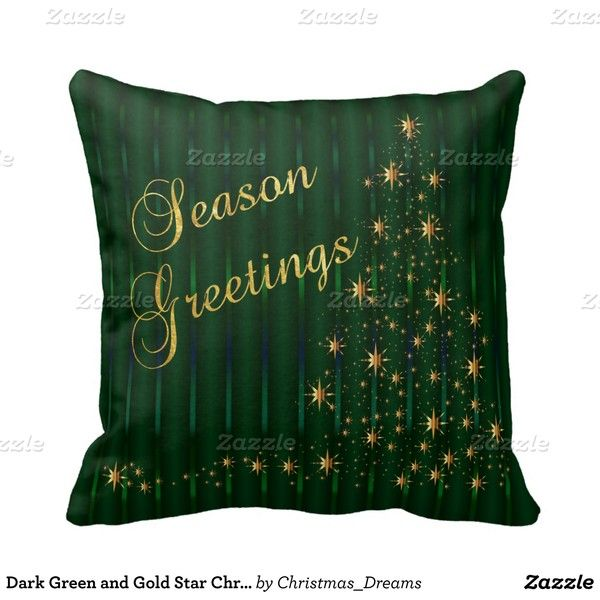 Dark Green and Gold Star Christmas Tree Throw Pillows ($26) ❤ liked on Polyvore featuring home, home decor, gold home accessories, star home decor and gold home decor