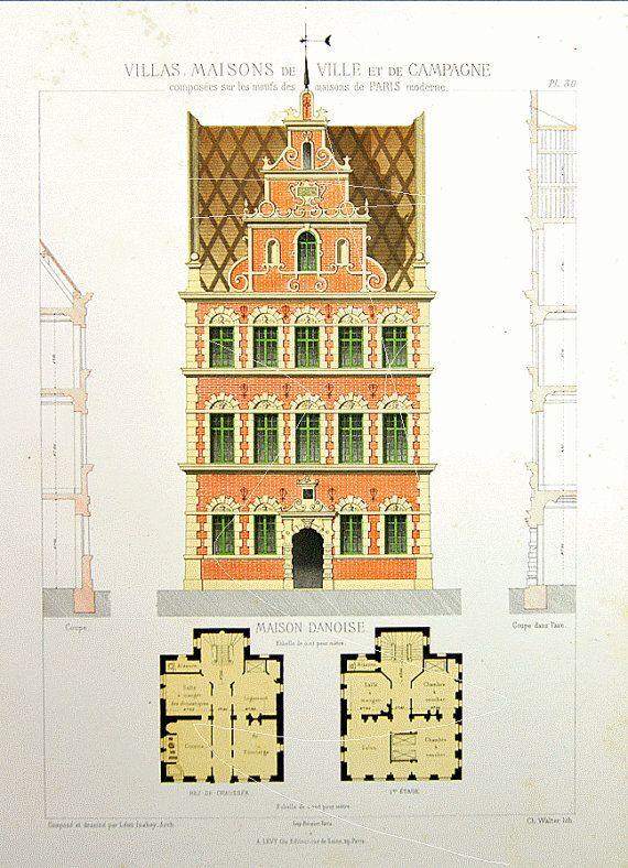 Antique Architectural Print Architecture 1864 by Printvilla4you