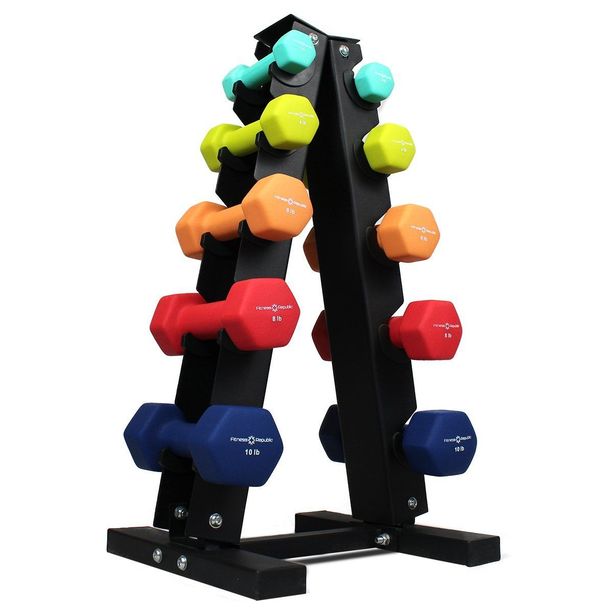 Fitness Republic Neoprene Dumbbells Pairs 2lb 4lb 6lb 8lb 10lb With 5 Tier Rack Stackable Weight Neoprene Dumbbells Dumbbell Rack Dumbbell Set With Rack